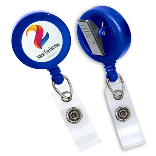 Imprinted Value Badge Reel - Swivel Bulldog Clip