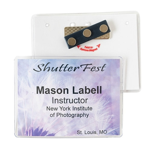 "4"" x 3"" Name Badge Holder - 3 TP Magnet"