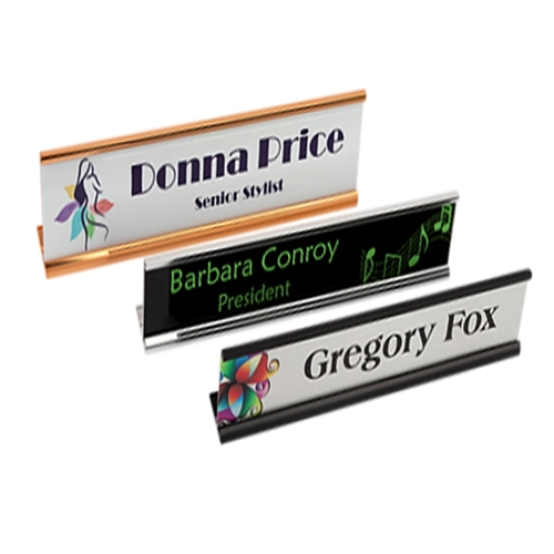 Metal Full Color Name Plate with Desk Holder