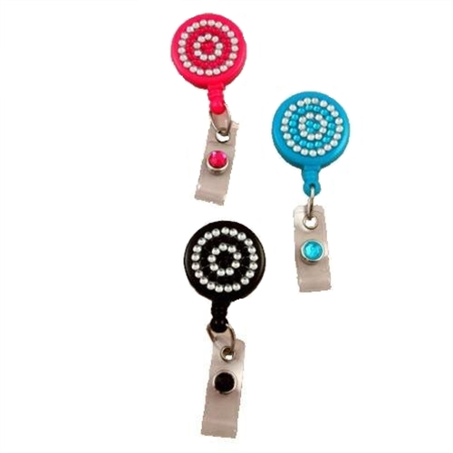 Rhinestone Badge Reel with Belt Clip - All Sales Final