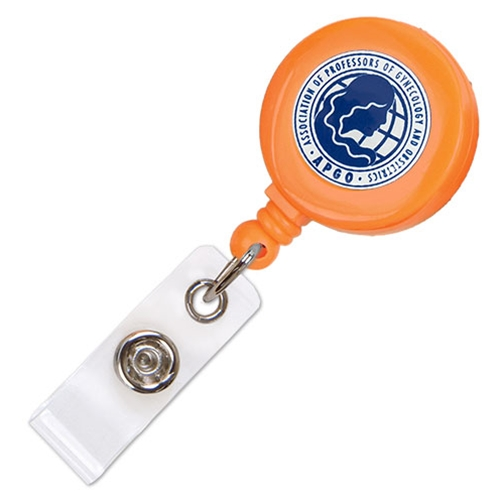 Imprinted Neon Badge Reel - Belt Clip