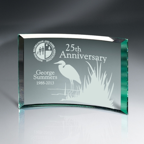 "8"" x 6"" Beveled Jade Glass Crescent Award"