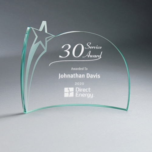 "6"" x 8"" Jade Glass Star Crescent Award"